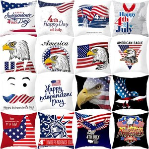 45*45cm American Independence Day Pillow Case Sofa Pillow Cover USA Flag Printted Home Decor Cushion Cover HHA602