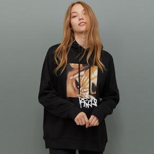 KIYUMI Hoodies Women Hippie Oversized Print Sweatshirt Hooded Tops Chic Shoulder Fall Hoodies 2019 Autumn Long Sleeve Top Shirts