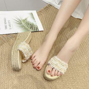 Fascinante2019 Zapatos de mujer de mujer con zapatillas Pendiente de tejido Cuerda de cáñamo Pearl One Font Otra ropa alta con sandalias