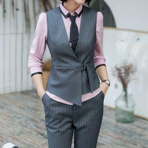 Autumn fashion and elegant women skirt vest suit for summer short suits work wear office ladies formal suit stripe clothes