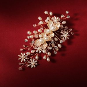Soft Flower Wedding Accessories Bride Jewelry Hair Clip with Crystal Pearl Beauty Alloy Bridal Hair Pins Hairpins with Black Gift Box