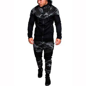 2pcs sistemas de la ropa Pullover Trajes para hombre Ropa para hombre de la moda con capucha chándales camuflaje de diseño con paneles Sudaderas Pantalones