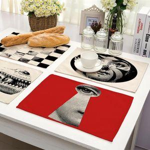 1 Pieza retro Fornasetti Artical tabla de cena del algodón de impresión Configuración Mantel Manteles Tabla Tazón pista placa Posavasos Mat