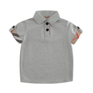 Junge POLO Shirts Sommer Baumwolle Kurzarm-Hemd für Kinder England Art-Plaid-T-Shirt beiläufige Umlegekragen Tops