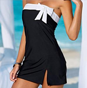 One Piece Maiô Sexy Cover-Ups Férias Praia Vestido Mulheres Swimwear Bownot Vestido Casual Vestidos