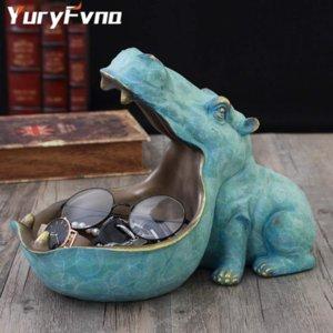 YuryFvna Hippo Статуя Смола Бегемот Фигурка Скульптура Главная Украшение стола Sundries Контейнер Key Candy