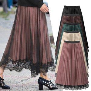 Jupes élastiques taille haute tute tulle jupe plus taille vêtements pour femmes chics dentelle une ligne midi lâche printemps été femme