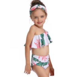 Girl Two Pieces Suit Swimsuit Children One Shoulder Swimming Suit 2-14 Year Kid Cute High Waist Swimwear Baby Bathing Suit Children's Swimwe