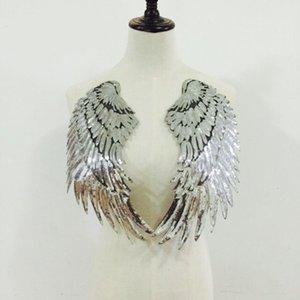HOT SALE 17 * 33см Крылья Патчи Золото Щепка Sequined патч пришить железа на одежде заплаты 3D перо аппликация DIY наклейки Свадебные 12PCS