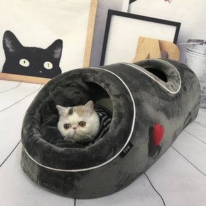 Cat Beds House Funny Cats Tunnel 2 Holes Play Tubes Soft Warm Small Dog Bed Coral Fleece Comfortable Pet Puppy Nest T200618