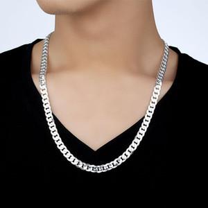 Homens 6mm Colares de cadeia 10 milímetros Hip Hop 925 Prata Mulheres Jóias Declaração AAA Qualidade Colar para o homem 18 22 24 Polegadas