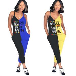Черный смарт-письмо женщины комбинезоны leeveless ремень комбинезон девятый брюки V-образным вырезом двухцветная строчка комбинезон комбинезоны летние наряды одежда
