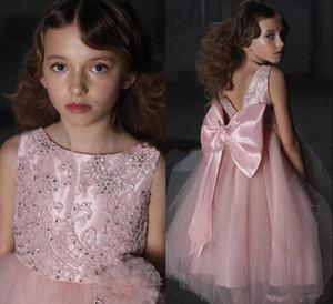 Pink Hot Sale Girls Pageant Kleider Stickerei Satin Rüschen Kinder Mädchen Formale Anlass Prinzessin Flower Girl Dresses Mit Big Bow Sash