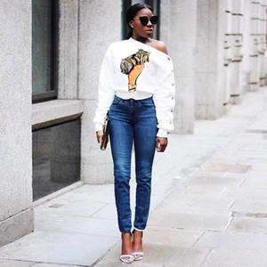 Manga estilo moda ropa femenina ropa casual mujer diseñador otoño tshirts inclinando hombro dólar impresión largo