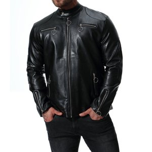 2018 Autumn New Style Large Size Men'S Wear Europe And America Stand Collar Locomotive Leather Coat Sportsman Leather Jacket B02