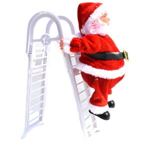 Dekorasyon Noel ağacı Süsler Yılbaşı Çocuk Hediyeler Noel heykelcik JK1910 Asma Müzik Noel Baba Elektrikli tırmanın Merdiven
