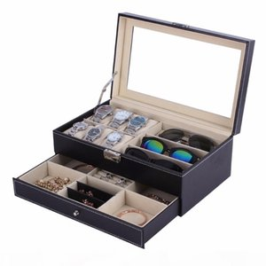 OUTAD Casket Wood Watch Box Double Layers Suede Inside Paint Outside Jewelry Storage Watch Display Slot Case Container Organizer