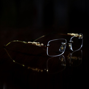 Mode Optische Frames Leopard Gold Büffel Horn Brille Frauen Brillen Männer Sonnenbrille Designer Gläser Klare Linse Frameless mit Box