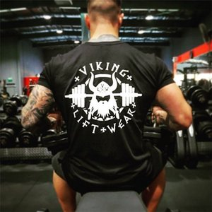 Viking Asansör Giymek Baskılı Mens Marka Tasarımcısı Atletik T-shirt Erkek Gym Fitness Casual Yaz Pamuk Ekip Boyun Kısa Kollu Tee