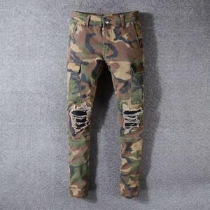 Мода Мужские джинсы стилиста Mens вскользь тонкий Тощие Джинсы Мужчины Женщины Камуфляж Хип-хоп Мотоцикл Байкер рваные джинсы Джинсовые брюки