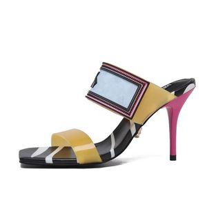 Orange sexy Eilyken été à talons hauts sandales femmes mode sangle arrière Tongs place talon 12cm Gladiator Sandales mf0521