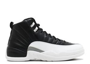 Playoffs 12s Zapatos de baloncesto TOP Versión de fábrica negro blanco 12 zapatillas de deporte de fibra de carbono reales para hombre Zapatillas de deporte clásicas US12 con estuche