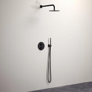 """8-Inch Shower Tap Set, Matte Black 10"""" Latão Chuvas torneira do chuveiro com 2-Way Diverter da Válvula mão Kit Duche Held, 16-141"""