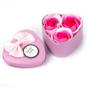 3шт Роза Мыло цветка подарочной коробке Валентина День подарков Свадебные подарки для гостей Подарок для Girlfriend День рождения партии сувениры
