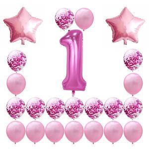 40 بوصة استحمام الطفل البالونات الرضع سنة واحدة عيد ميلاد الحزب بالون الرقمية مهرجان الديكور ورقة قصاصات Airballoon 19gl L1
