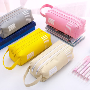 Fresh Style Double-layer-zipper Large Capacity Oxford Pencil Case Stationery School Supplies Boys&Girls Pencil Case For School J190751