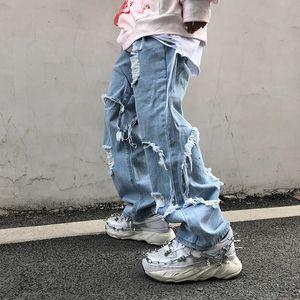 UNCLEDONJM 2020 jeans preto Plus Size homens Destruído estiramento soltas Fit Hop Hop Pants Moda afligido denim jean me-Z37
