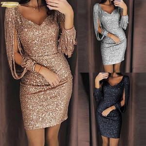New 2019 Vestido Moda Mulheres Sexy V Ncek Sólido Longo Glitter costura Brilhante Clube Bainha Sequined Mini de roupas de grife