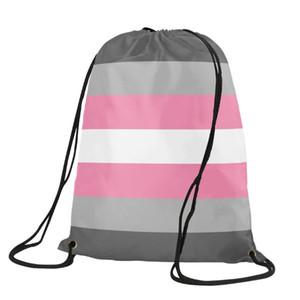 LGBT Rosa lésbica Drawstring Backpack Orgulho Gay Saco do presente Sports Personalizar 35x45cm poliéster impressão digital para miúdos das mulheres dos Tra