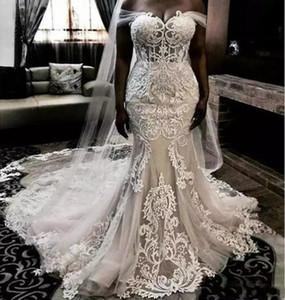 2019 Mermaid di lusso Abiti da sposa Illusion raso di pizzo Appliques Off spalla Plus Size Sweep treno abito da sposa formale abiti da sposa