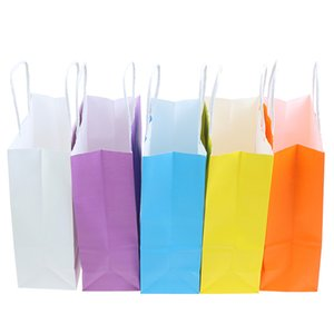 1PC Colorful Small Kraft Paper Gift Bag With Handle Wedding Birthday Party Gift Package Wrapping Supplies Festival Jewelry Bags
