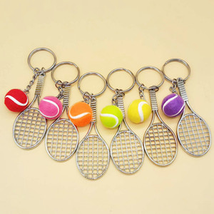 Mini Tennis Keychain Sports Style Key Chains Zinc Alloy Keychains Car Keyring Kids Toy Novel Birthday Favor RRA2804