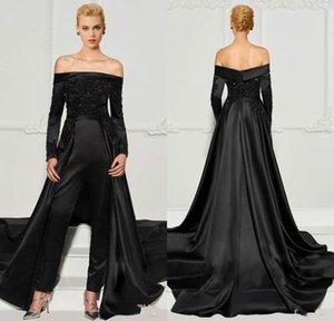 Mode dentelle noire Jumpsuits robes de soirée avec train détachable de l'épaule perles Robes manches longues formelle robe de bal pailletée