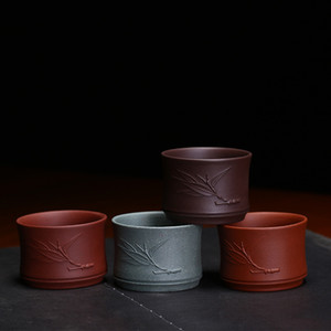 China Yixing Purple Clay Teacups 60ml Hand Made Purple Mud Tea Cup Chinese Kung Fu Tea Set Natural Ore Drinkware Tea Bowl