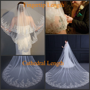 Cheap 2 Tier Bridal Wedding Veil with Comb Lace Applique Sequin Edge White Ivory Hair Accessories Wedding Veil for Brides Two Layers