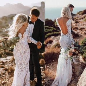 Paese merletto del manicotto della sirena abiti da sposa d'epoca lungo 2020 Sexy profondo scollo a V Backless Abito da sposa Piano Lunghezza Boho Abiti da sposa BC2833
