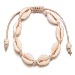 Cowrie Beads Shell Tobillera Pulsera Hecho a mano Playa Pie Joyería Estilo jamaicano hawaiano ajustable para mujer Unisex
