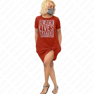 BLACK LIVES MATTER letter Tshirt Oversize Summer T shirt Dress Loose Tee Top with Packet Fashion Designer Dresses Casual Clothing 2020 D7210