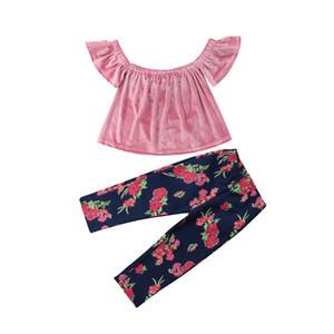 2pcs Criança Crianças Baby Girl Off-ombro manga curta rosa Velvet Tops T-shirt + Print Floral Jeans Conjuntos