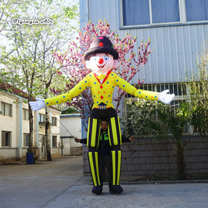 Circus Parade Clothing Walking Inflatable Clown Puppet 3.5m Attractive Colorful Blow Up Clown Costume For Outdoor Event