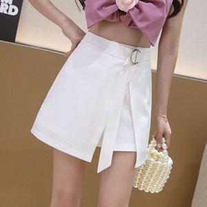 Yaz Kadınlar Katı Renk Şort Streetwear Düzensiz Bölünmüş A-line Şort Etekler Lace Up Yüksek Bel Moda Casual Kısa Pantolon