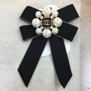 Schleifenband Brosche Schmuck für Frauen Perle Pins und Broschen Große Kragen Pin für Frauen-Hemd-Mantel-Rock-Kleidung DHL