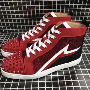 Chaussures en cuir rouge Suede avec strass High Top strass Spikes Red Sneakers Bas Chaussures de soirée de mariage rouge Sole Loisirs Flats Livraison gratuite