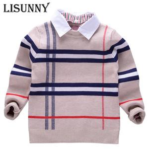 2019 camicia collare striscia Boy baby maglioni plaid classico pullover in maglia scherza i vestiti autunno inverno nuovo maglione Abbigliamento per bambini