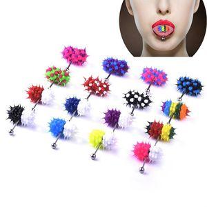 Mode Femmes Hommes Caoutchouc Tongue Acier inoxydable Barbell Vibrant Bar Body Piercing Stud Bague Punk Bijoux