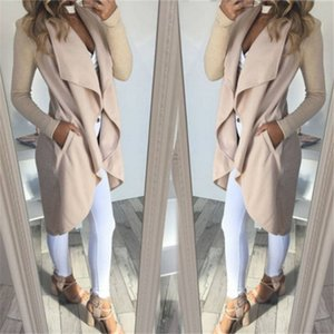Luxe Femmes Trench Designer Ruffle col en V Trench couleur naturelle manches longues Manteau Casual